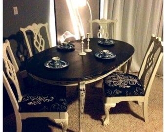 Shabby chic dining room table w chippendale claw foot chairs for Dining room tables etsy