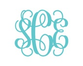 BOGO Vine Monogram Vinyl Decal - 1 Color - Choose from 14 colors in various sizes and fonts