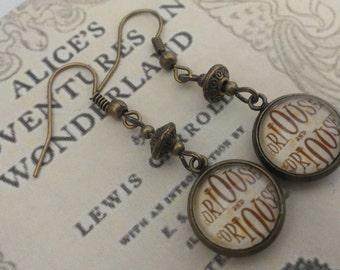 Alice in Wonderland earrings - Curiouser and Curiouser