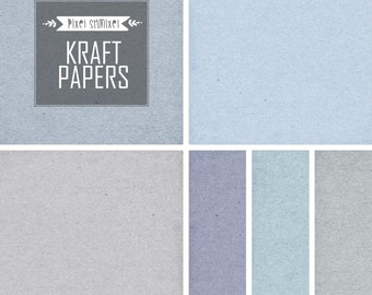 "Digital ""KRAFT PAPERS"", Digital Paper 12x12, High Resolution Recycled Cardboard, Kraft Textured Background in Blue Tones, Instant Download"