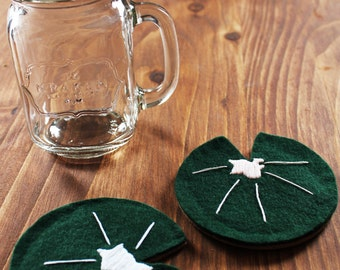 Set of 4 felt lilypad coasters