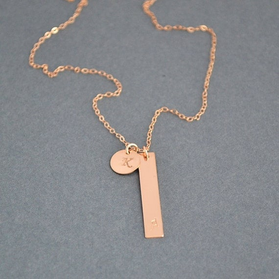 Monogram bar necklace rose gold bar necklace vertical bar for Rose gold personalized jewelry