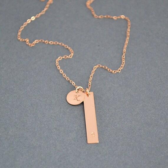 monogram bar necklace gold bar necklace vertical bar