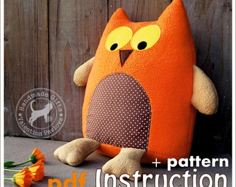 Owl pillow sewing pattern Home decor plush toy- pattern and instruction- sewing tutorial soft toy owl Instant Download-stuffed Owl gift