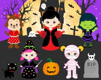 HALLOWEEN Digital Clipart, Halloween Clipart, Trick or Treat Clipart