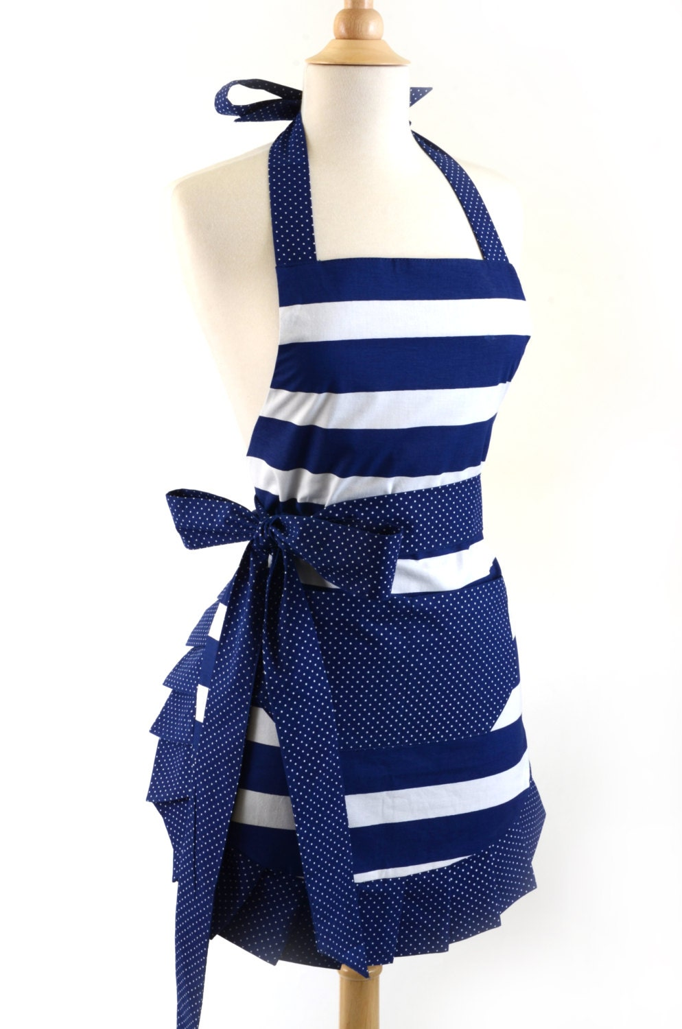 flirty aprons nautical navy apron is sexy fun flattering. Black Bedroom Furniture Sets. Home Design Ideas