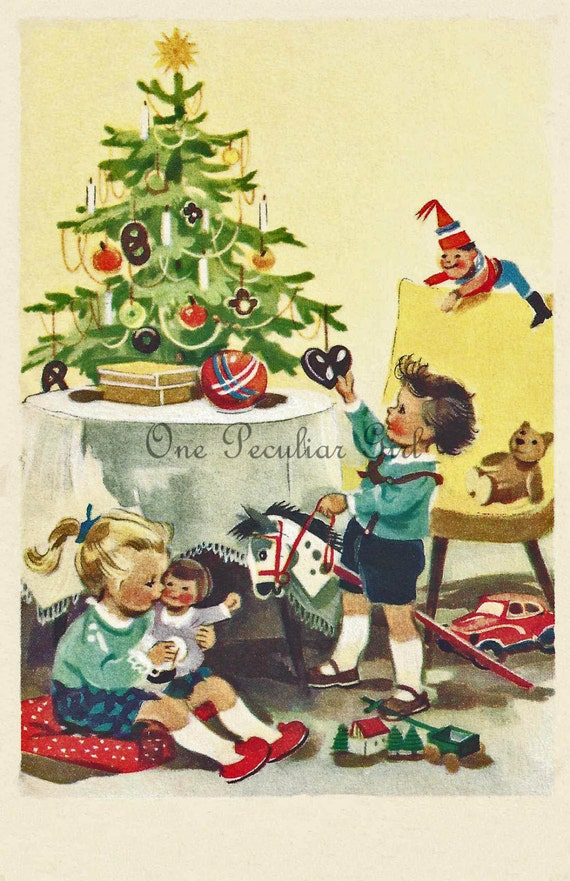 Toys Under Christmas Tree : Vintage christmas postcard children