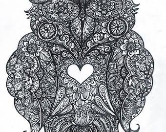 Mehndi Henna Inspired Owl Print