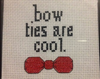 Bow ties are cool - 4x4 Framed Cross-Stitch