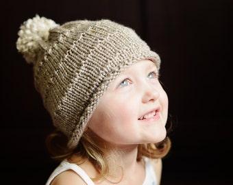 Hand Knit Child Beanie hat with Pom