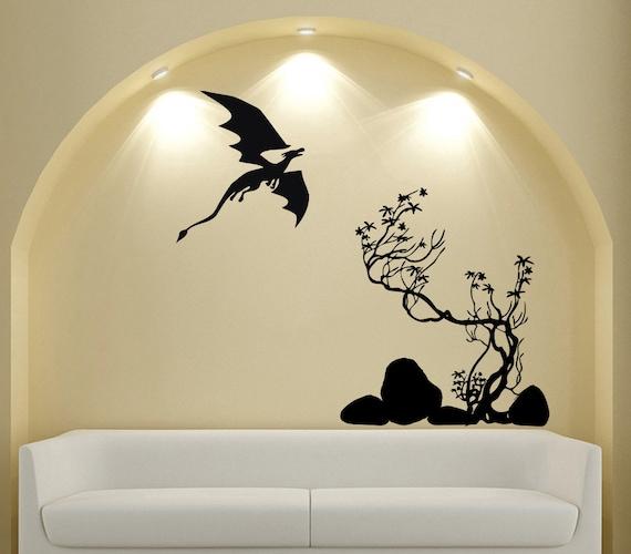 Fantasy Home Decor: Items Similar To Fantasy Landscape Dragon Tree Wall Decal