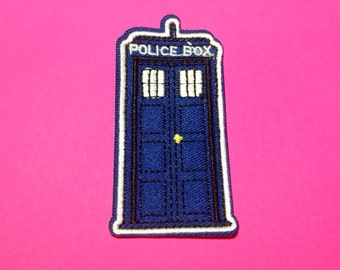 Iron on Sew on Patch:  Police Box (the TARDIS), Dr Who