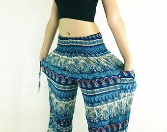 Women Harem Pants Yoga Pants Aladdin Pants Maxi Pants Baggy Pants Gypsy Pants Rayon Pants Hippie Pants Trouser Blue (TS13)