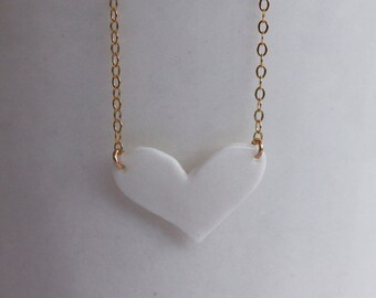medium white porcelain heart