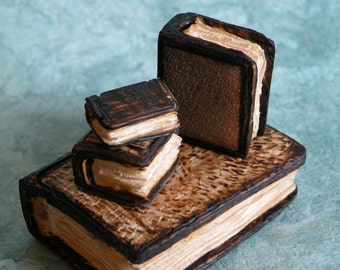 Wooden pyrographed set of miniature books