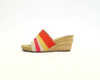 Wedge Sandal Womens Espadrille Sandal Red Sandal Straw Wedges 90s Wedge Shoe Straw Mule Raffia Heeled Sandal Size US 5.5, EU 35.5, UK 3.5