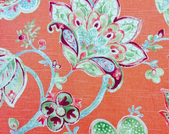 Tangerine Floral Fabric - Upholstery Fabric