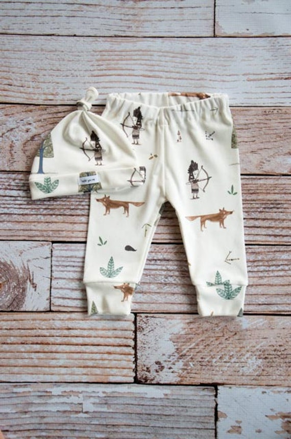 organic baby leggings, baby pants, baby leggings and hat, toddler pants, organic baby, Indian, woodland hat set, fox, baby gift
