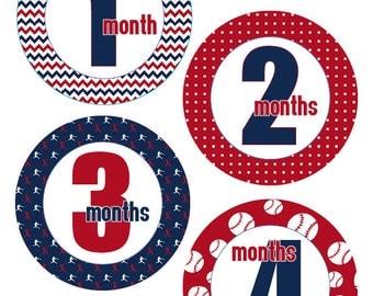 Baseball theme Monthly baby one-piece Stickers - Boy 1-12 Months - Bodysuit, Milestone, Photo stickers, Baby shower, Pre-cut, SKU 009