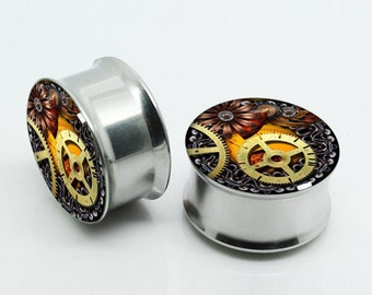 Steampunk Plugs,-Pairs Titanium Anodized Double Flare Ear Plugs Tunnels Earlets Gauges