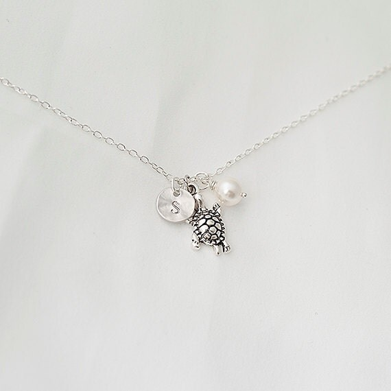 Personalized Initial Silver Turtle Nnecklace, Swarovski Pearl Necklace