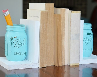 Popular items for bookends on etsy for Mason jar bookends