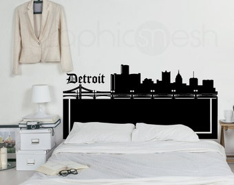 Wall decal DETROIT SKYLINE HEADBOARD - Interior bedroom decor by GraphicsMeshs