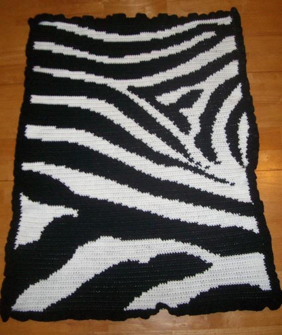 Zebra Baby Blanket - Handmade Crochet Zebra Baby Blanket Unisex ...