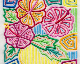 MAGNIFICENT MOLA BOUQUET Stylized Colorful Quilt Square, Quilt Block, Panel Machine Embroidered