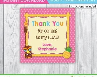 Luau Favor Tag / Luau Party Gift Tag / Luau Party Favor Tag / Luau Printable / Luau birthday / Luau decoration / Luau tag / INSTANT DOWNLOAD