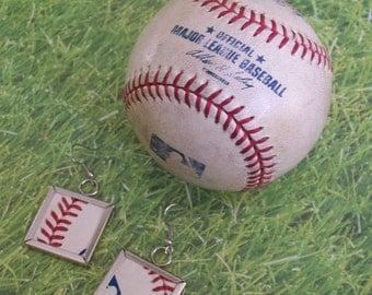 Baseball Earrings- Glass Back- Logo- Square 1 inch