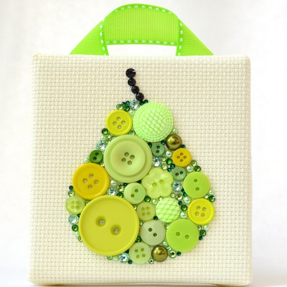 Button art juicy pear home decor button artwork kitchen Pear home decor