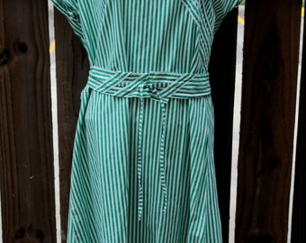 Cute Green Striped Dress with Great Belt