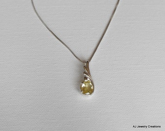 Lemon Quartz and Sterling Silver Necklace - Gemstone Jewelry      (GS-291)