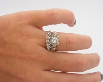 1.00 Carat Total Weight Ladies Diamond Wedding Set.14K White Gold