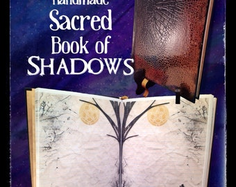 Blank Book of Shadows with Textured Snake Like Hardcover & Lined Wolf Pentagram Pages. Unique Pagan Lined Spell Book Journal Made to Order