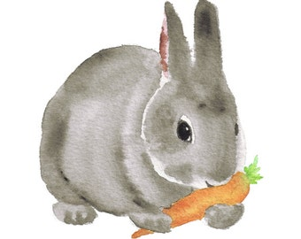 Watercolor Bunny 3- rabbit art print nursery art woodland children's art animal art animal watercolor kid's wall art gray orange black 5x7+