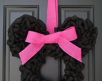 Disney Inspired Minnie Mouse Burlap Door Wreath