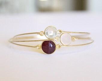 Ruby Bangle - 14k Gold Bangle - Gold Bracelet - Ruby Bracelet - Bangle Set - Red Bridesmaids - Thin - July Birthstone - Stacking Bracelet