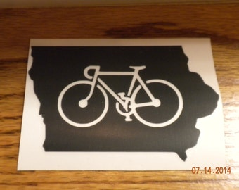 State of Iowa Bicycle Decal-Great for RAGBRAI