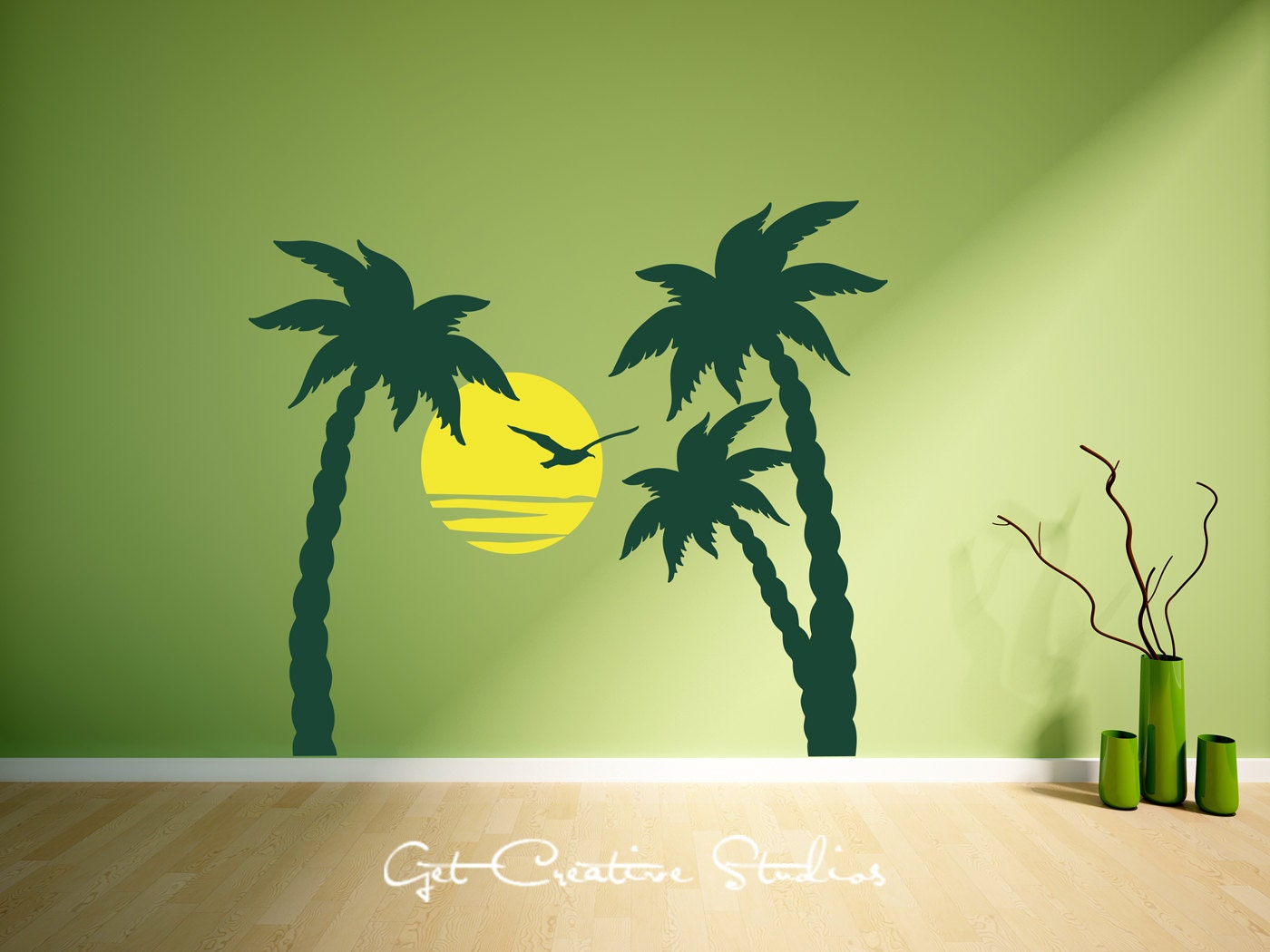 Palm tree decal trees wall home decor sunset seagull ocean for Beautiful palm tree decal for wall