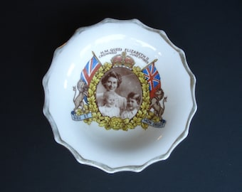 1950s Queen Elizabeth II Coronation Pin Dish Plate Marcus Adams Royal Photographer