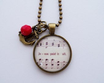 Music Pendant Necklace - Jesus Paid It All - Inspirational Jewelry - Music Jewelry - Hymn - Christian Necklace - Customized - Gift For Women