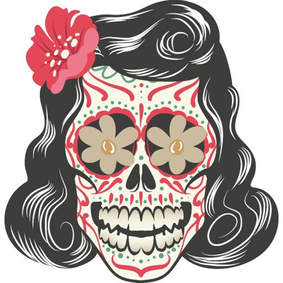Full Color Greaser Sugar Skull Vinyl DecalGreaser Sugar Skull