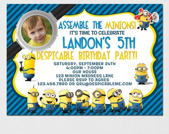 Minions Invitation - Minions Birthday Party - Minions Party - Minions Printable Invitation - Minion Invitation - Minion DIY Printable