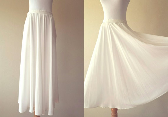 70's flowy skirt flowing skirt flowing white medium