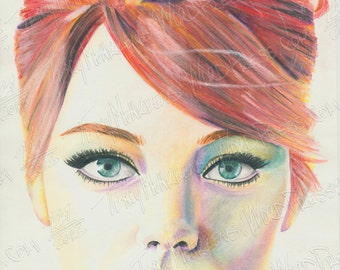 Emma Stone 8.5x10.5 in. Watercolor Pencil on Paper, 2012