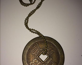 Vintage Asian Primitive Pendant Necklace Brass Bronze Color