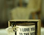 Funny MUG LOVE Gift Enamel Mug Metal MUG New Custom Engraved Cup Personal Tumbler with Sentence: I love you to the moon and back