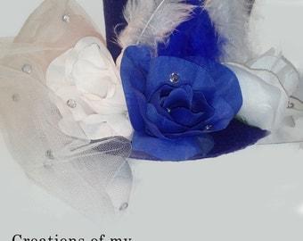 Top Hat -Mad Hatter Tea Hat - Medium Blue Top Hat with veil